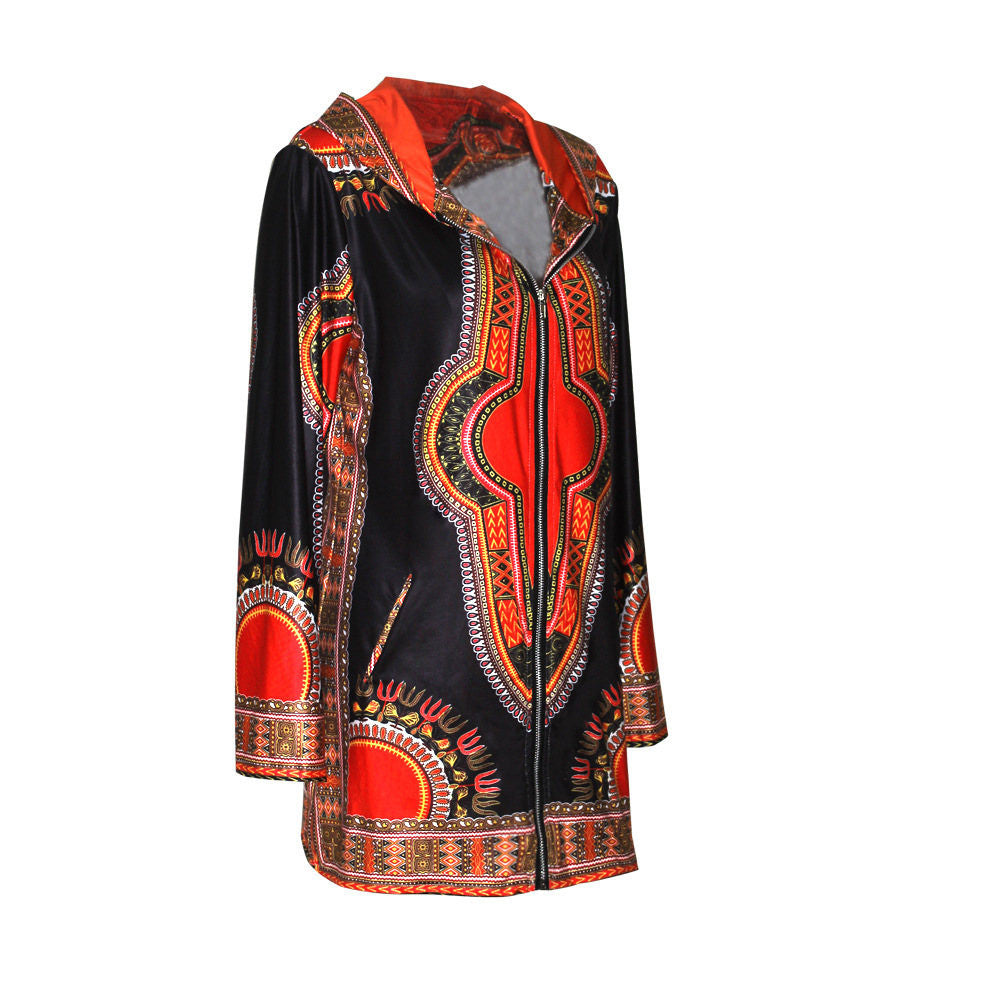 Traditional Dashiki Blazers suit zipper coat Long Sleeve Jackets Top - Owame