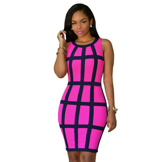 Bodycon Patchwork Dress - Owame