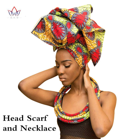 Handmade Multi-color Headwear Headband Ankara Head Decorations Wrap Scarf Necklace African Hair Accessories Gele Ipele WYB20