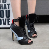 Vogue Punk style lace-up High Heels Peep Toe Shoes - Owame