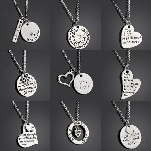 women's necklaces and pendants,Heart Puzzle I Love You Grandmother Granddaughter Grandma Mother Daughter Sister Sis Women Dog Paw Family Pendant Necklace Gifts