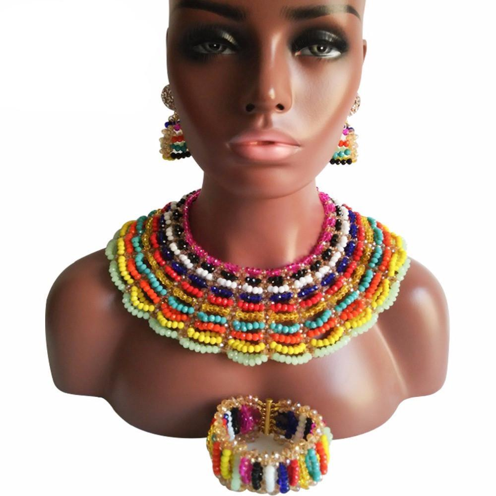 2017 Fashion African Multi Colors Beads Jewelry Set