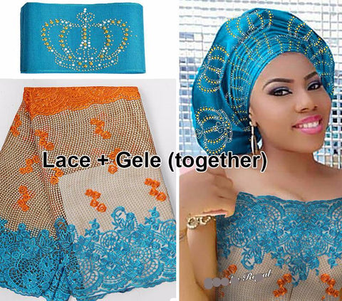 5yards African French lace Tulle Fabric + Free Matching Stones ASO OKE Gele Headscarf Full Length - Owame
