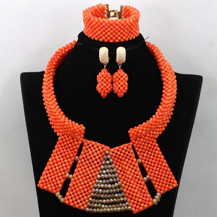 2017 Luxury Full Costume Coral Beads Wedding Jewelry Sets