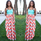 Boho beach Maxi Dress Striped Print Long Dresses - Owame