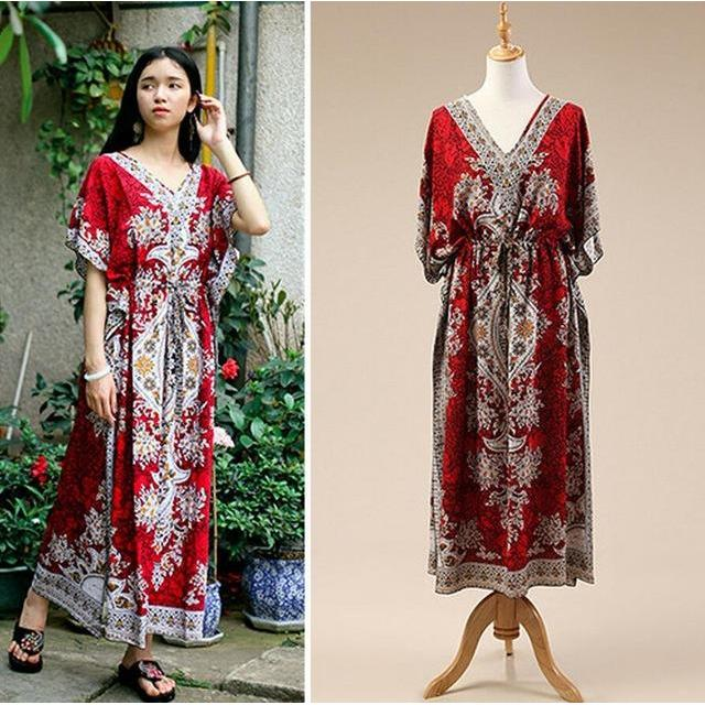 2017 Beach Dress Kaftan Ethnic Rayon Maxi Dress Women Vintage Tunic Boho Casual Printed Long Dress Vestidos De Fiesta #P126