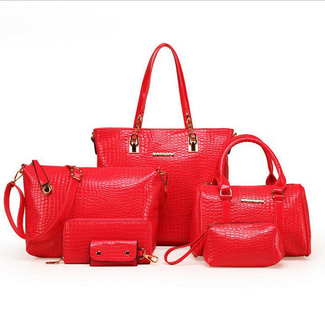 6pcs/set Fashion Crocodile Handbag PU Leather Bag - Owame