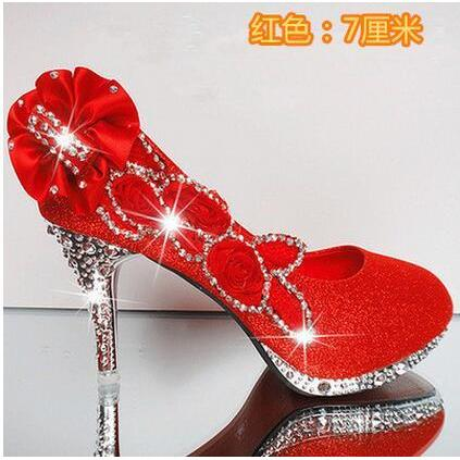 2016 Glitter Gorgeous Wedding Bridal Evening Party Crystal High Heels Women Shoes Sexy Woman Pumps Fashion Bridal Shoes 9 color