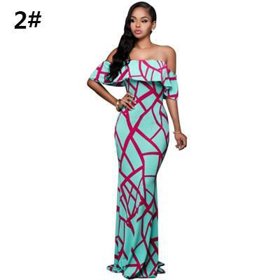 2017 Fall Summer Ruffle Off Shoulder Maxi Dress Robe Sexy Party Dresses Backless Slim Elegant Vintage Floral Bodycon Long Dress