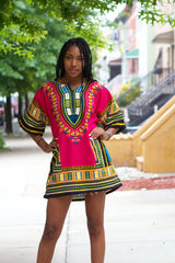 Traditional Dashiki Print Short Sleeve African Top - Owame