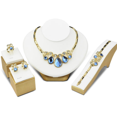 Blue Crystal Bridal Jewelry Sets Gold Ethiopian Jewelry Parure