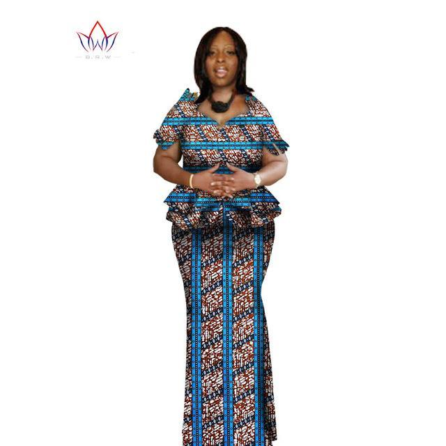 2017 Spring Women Clothing Brand African Vestido 6XL Wax traditional african clothing 2 pieces for Women Skirt Set BRW WY1004
