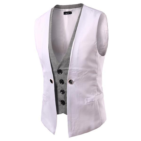 2016 Gentleman Fake Two Dress Vest Casual Mens Slim Fit Waistcoat Autumn And Winter Warm Windbreak Mens Vest  6 ColorsPM12