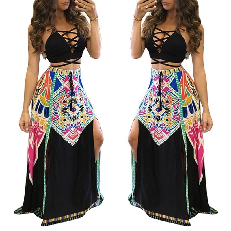 2016 woman set 2 piece sets women long skirts and crop top ensemble femme halter cover ups backless print casual sexy strapless