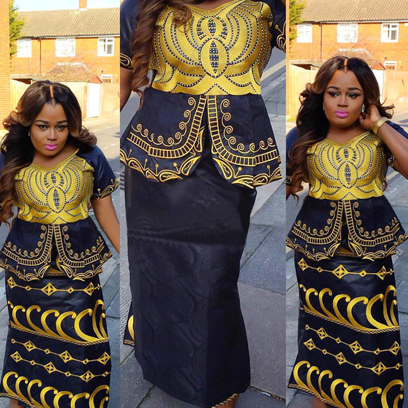 African Dress with rapper with scarf ,African Dress Online,brocade dress - Owame