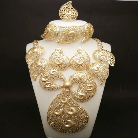 Costume Bridal African Gold Jewelry Set - Owame