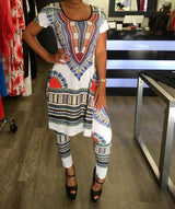 Bohemian African Print Bodycon Short Sleeve Dashiki Dress & Long Pants - Owame