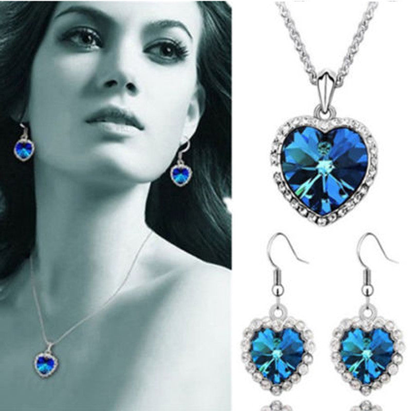 Ocean  Blue Rhinestone Pendant Necklace and Earrings Set - Owame