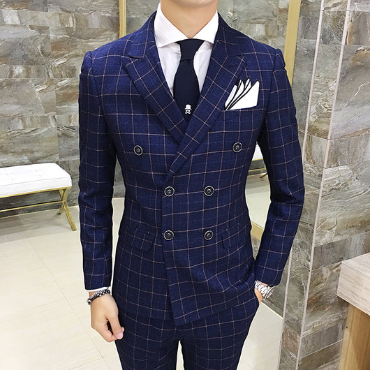 3 Psc 2017 Envmenst Brand High Quality Men's Plaid Suit Set Blazer+Vest+Pants Groom Double breasted Man Wedding Suit Set