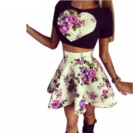 European Style Show Slim Tall Waist Flower Crop sHORT Sleeve Top and Skirt - Owame