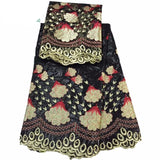 5 yards African Riche Print + Free 2 yard Beaded Blouse Indian Fabric Lace - Owame