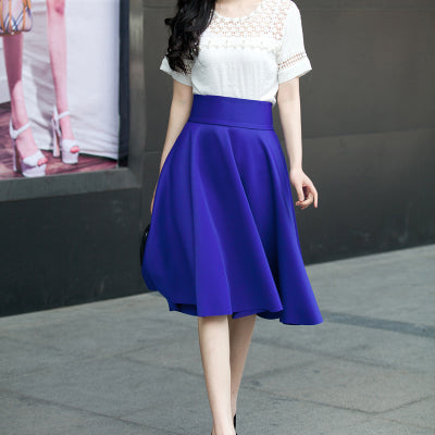 38837335ae ... Image of 5XL Plus Size Skirt High Waisted Skirts Womens White Knee  Length Bottoms Pleated Skirt ...