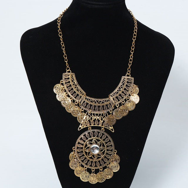 Find me vintage big gem bohemian necklace chain jewelry fashion find me vintage big gem bohemian necklace chain jewelry fashion collar choker coin gypsy ethnic maxi mozeypictures Gallery