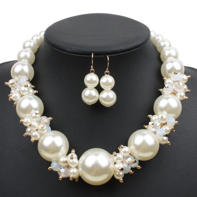 502c8faf72 ... Fashion Imitation Pearl Jewelry Sets Women Wedding Bridal Necklace.  Hover to zoom