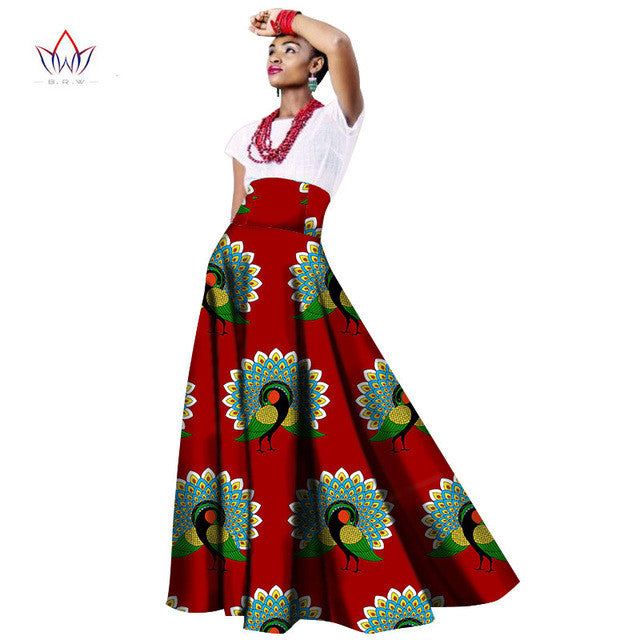 African women clothing Long Maxi Dashiki Plus Size print cotton skirt for women - Owame