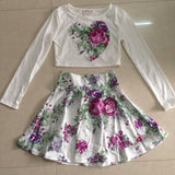 Beautiful Floral Love Heart Long Sleeve Print Crop Top Set - Owame