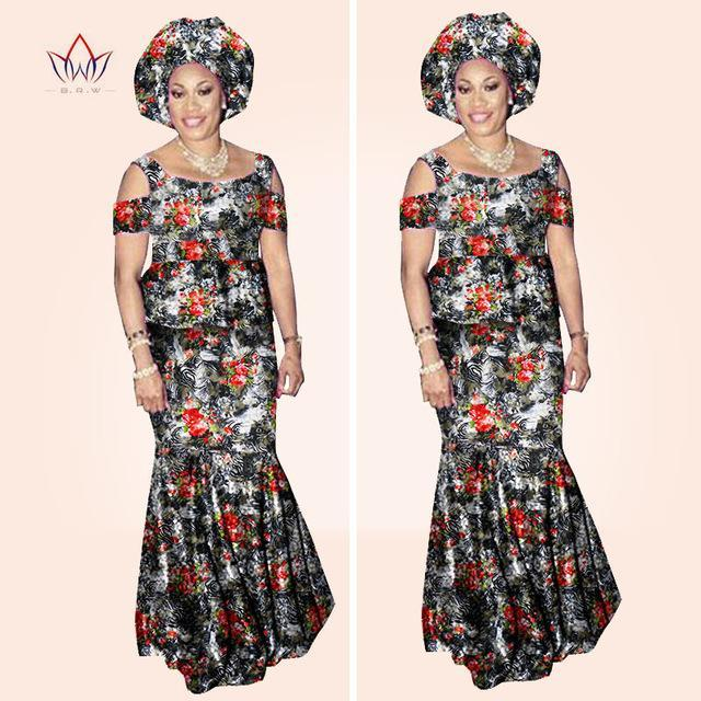 2 sets African ankara Print Women Lace Fabric Top and Skirt Elegant 2 piece set#owame11