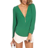 Women Blouses deep v neck Top - Owame