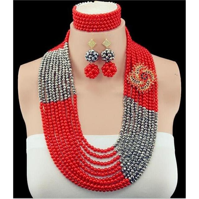 2016 Crystal African Wedding Beads Bridal Jewelry Sets Statement Necklace African Jewelry Set  Free Shipping ABY058