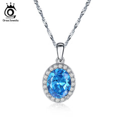ORSA JEWELS Silver Color Women Necklace with Luxury Blue Austrian Cubic Zirconia Micro Pave Charm CZ New Fashion Necklaces ON123