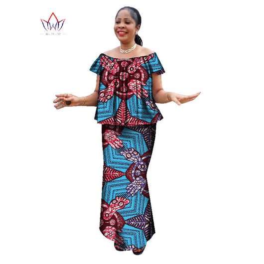 Ankara Skirt and O neck Blouse traditional Clothes plus size Dress - Owame