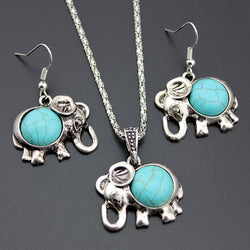 Antique Silver Color Jewelry Set Elephant Pendant Blue Beads Necklaces Drop Earrings  Statement Charm For Women