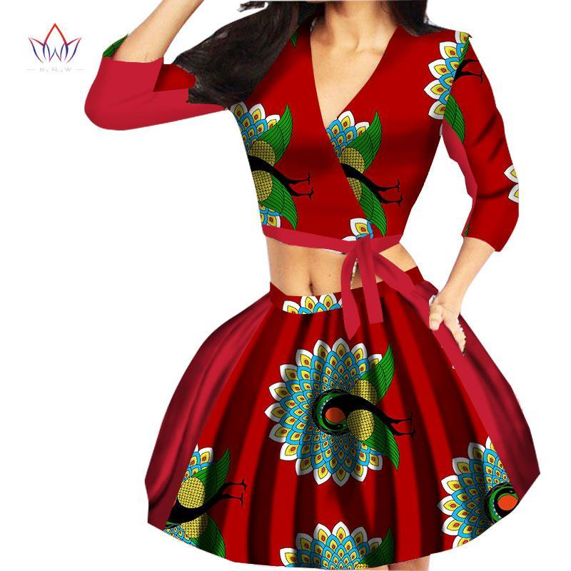2017 African Women Skirt Set Bazin Riche 2 Piece Skirt Sets Sexy exposed navel African Suit for Girls Fashion Skirts WY1218