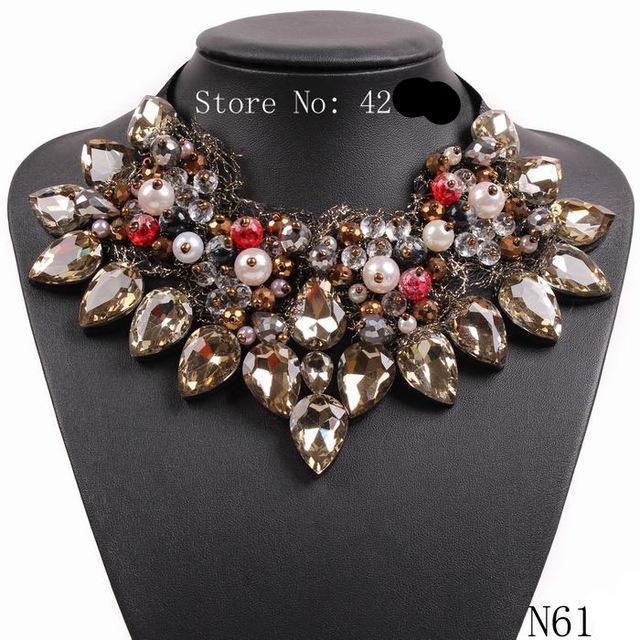 2017 New Design Black Rope Chain Crystal Pendant Chunky Statement Choker Necklace Collar For Women Jewelry