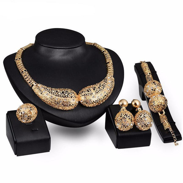 African Crystal Statement Necklace Earrings Bracelet Rings Wedding Bridal Set,High fashion African jewelry sets - Owame