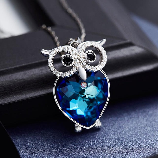 65eeb4036606a Real 925 Sterling Silver Fine Jewelry Blue Crystal Owl Pendant Necklace For Women  Gift High Quality. Hover to zoom