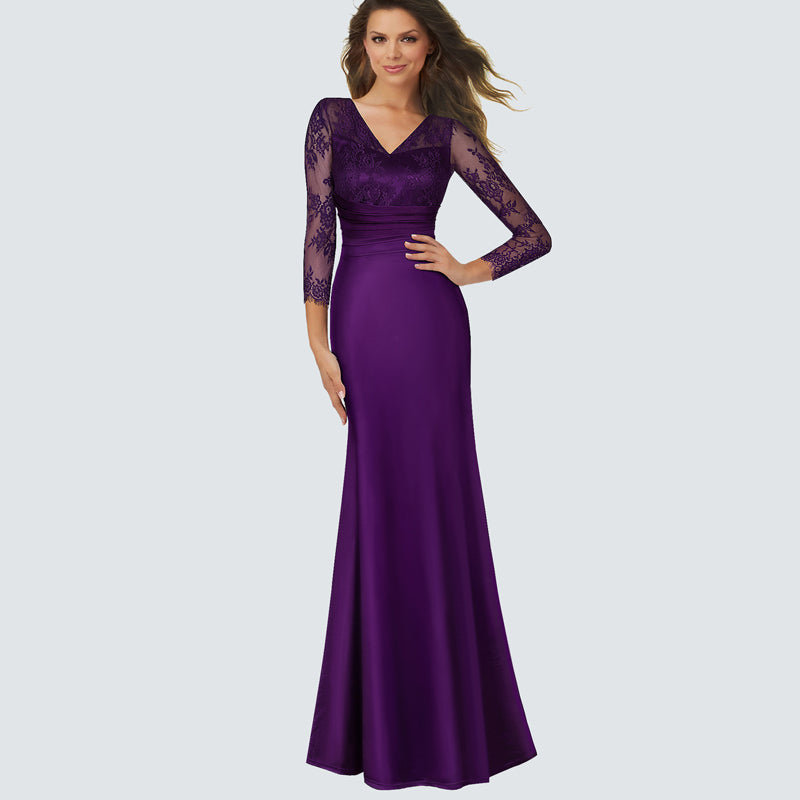 Ladylike Purple Elegant Women Deep V Sexy maxi Dress Elegant ...