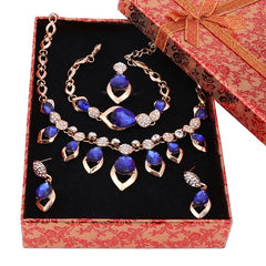 Costume Women Party Gold Color African Beads Jewelry Sets Blue Gem Crystal Necklace Bracelet Earrings Ring