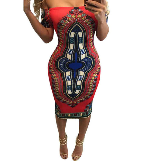Summer Dress Dashiki Bodycon Sexy Party Dress Short Off The Shoulder Indian Traditional Print African Dresses For Women