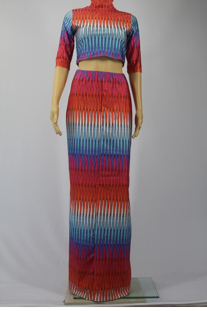 African Dresses Half Sleeve Multicolor Long Summer Tops and Skirts - Owame