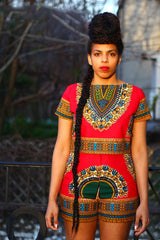 Traditional African Ethnic Print Dashiki Top and Short - Owame