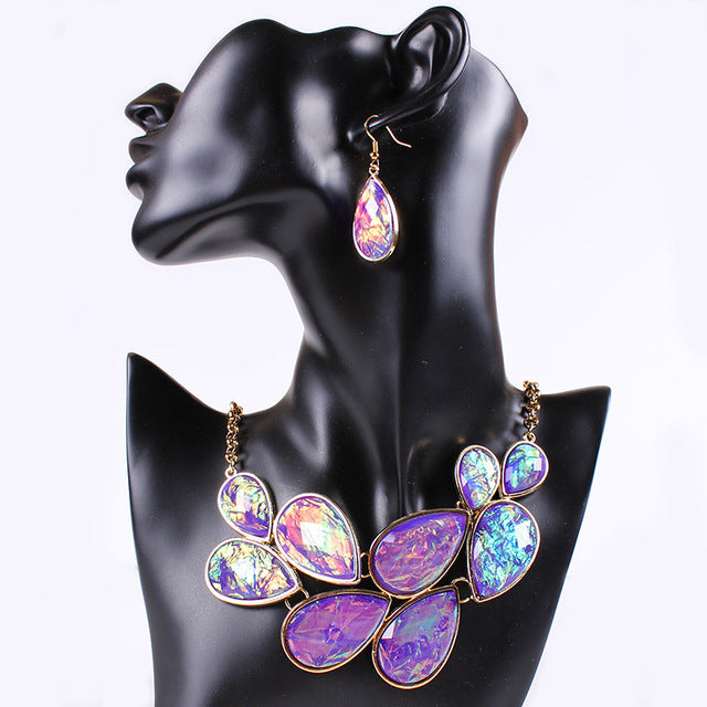 Fashion Gold Jewelry Jets Resin Choker Necklace and Earrings for women Waterdrop Leave Purple Jewelry Set Chain Duftgold