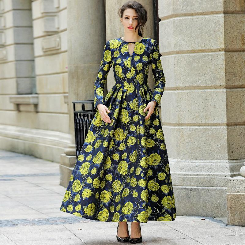 2016 good quality women fashion dress autumn winter long maxi floral print dress