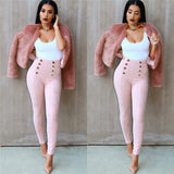 Women Pencil Pants With Flares High Waist Legging Trousers - Owame