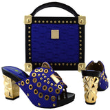 Italian Blue Shoes With Matching Bags Rhinestones for Wedding - Owame