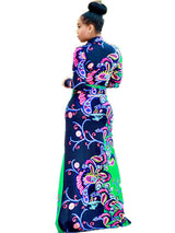 Colorful Women Long Sleeve Deep V Neck Print Maxi Dresses - Owame